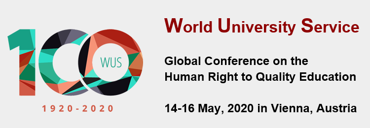 """Banner zur Konferenz World University Service 1920-2020. Global Conference on the Human Right to Quality Education"""". Quelle: WUS"""