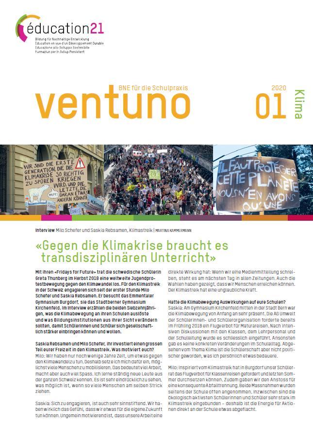 Titelseite ventuno Klima. Quelle: education21.ch