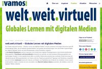 """Screenshot Startseite zum Projekt Projekt """"welt.weit.virtuell - Globales Lernen mit digitalen Medien"""". Quelle: vamos-muenster.de"""