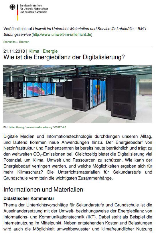 Wie ist die Energiebilanz der Digitalisierung? Quelle: umwelt-im-unterricht.de