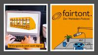 Bildungssäule und Podcast zum Fairen Handel. Quelle: Weltladen-Dachverband/A. Stehle; Unsplash/Myriam Jessier (links) / Weltladen-Dachverband (rechts)