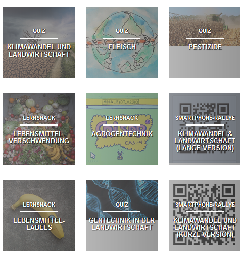 Übersicht BIOPOLI Online-Quizze. Quelle: http://www.agrarkoordination.de/projekte/biopoli/quiz-uebersicht/