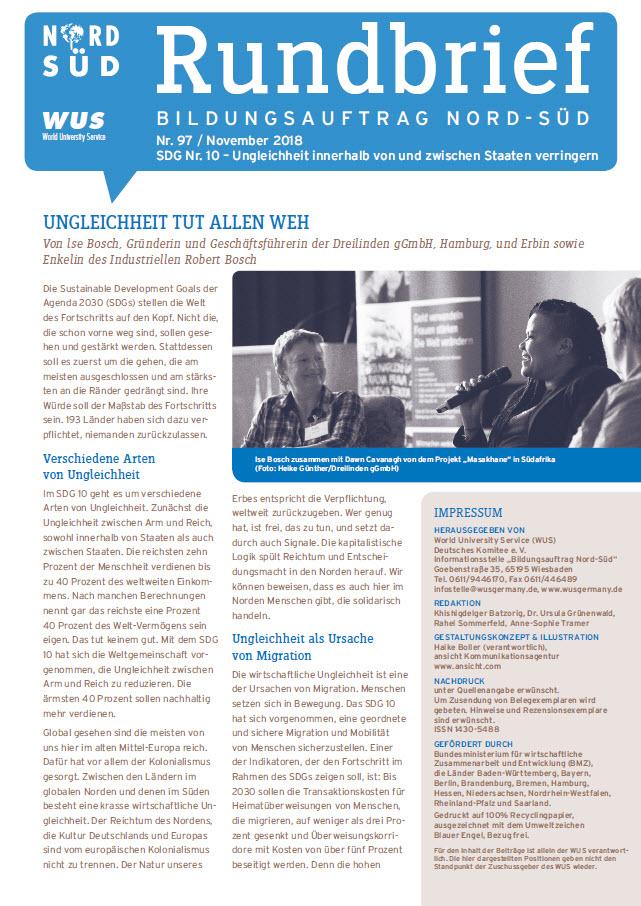 Titelblatt Rundbrief Bildungsauftrag Nord-Süd November 2018