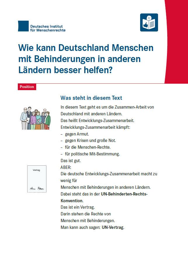 """Titelseite """"Wie kann Deutschland Menschen mit Behinderungen in anderen Ländern besser helfen? Position Nummer 14 in Leichter Sprache"""". Quelle: institut-fuer-menschenrechte.de"""