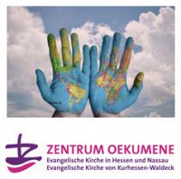 Hände mit Weltkarte (© stokpic auf pixabay.de) und Logo Zentrum Oekumene. Quelle: Zentrum Oekumene
