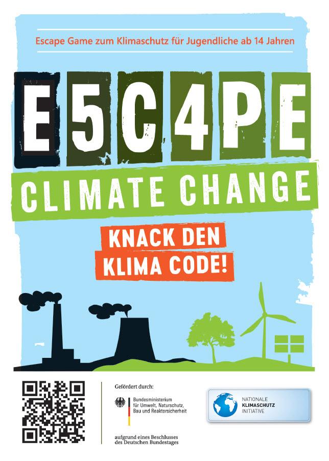 """Ausschnitt Flyer zum Spiel """"Escape Climate Change"""". Quelle: escape-climate-change.de"""