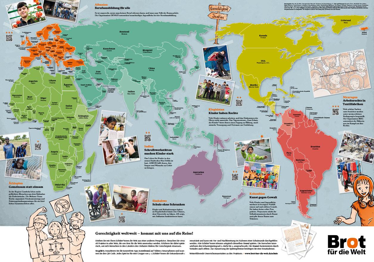 """Weltkarte """"Gerechtigkeit weltweit!"""". Quelle: brot-fuer-die-welt.de"""