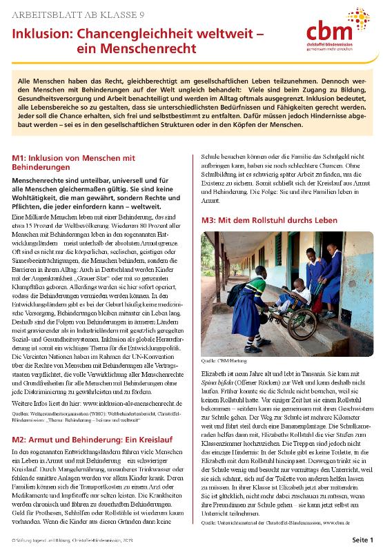 """Arbeitsblatt """"Gleiche Rechte für alle – Bildungsmaterialien zum Thema Behinderung"""". Quelle: CBM"""