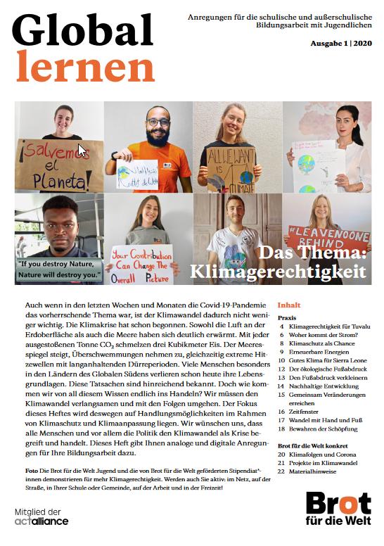 Titelbild Zeitschrift Global Lernen zum Thema Klimagerechtigkeit. Quelle: brot-fuer-die-welt.de