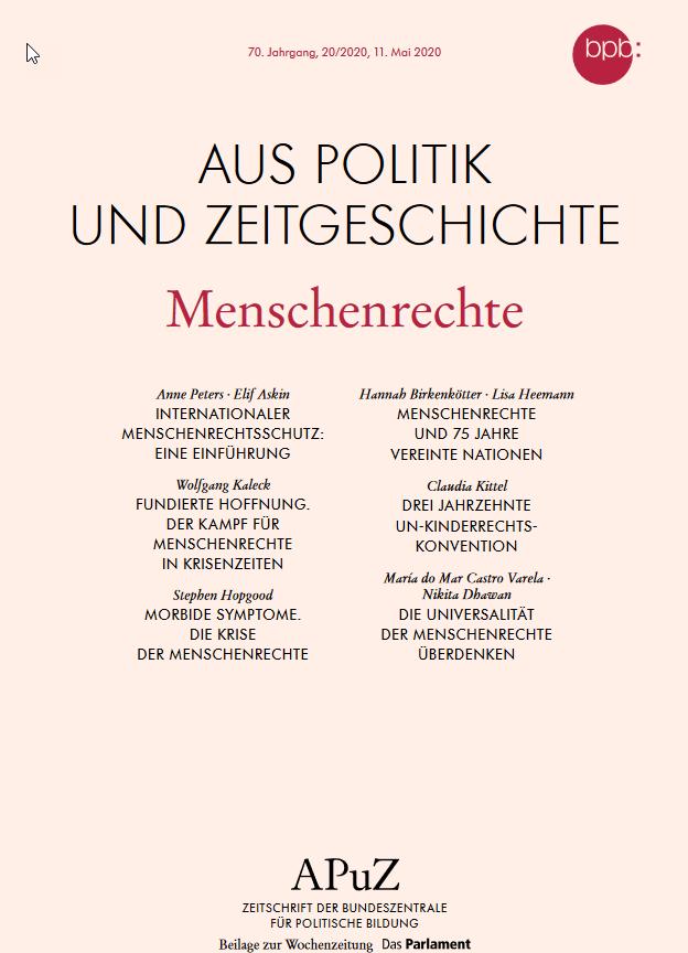 """Cover """"Aus Politik und Zeitgeschichte (APuZ 20/2020) zum Thema Menschenrechte"""". Quelle: bpb.de"""
