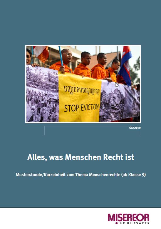 """Titelseite Material """"""""Alles, was Menschen Recht ist"""" – Kurzeinheit zum Thema Menschenrechte"""". Quelle: Misereor"""
