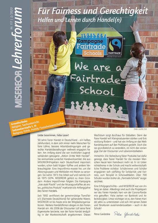 """Titelseite MISEREOR-Lehrerforum Nr. 117 zum Thema """"Für Fairness und Gerechtigkeit"""". Quelle: MISEREOR"""