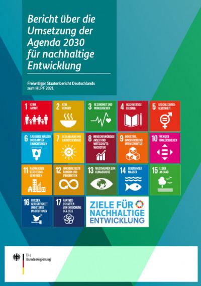 """Titelseite Bericht """"Bericht über die Umsetzung der Agenda 2030 für nachhaltige Entwicklung"""". Quelle: bmz.de"""
