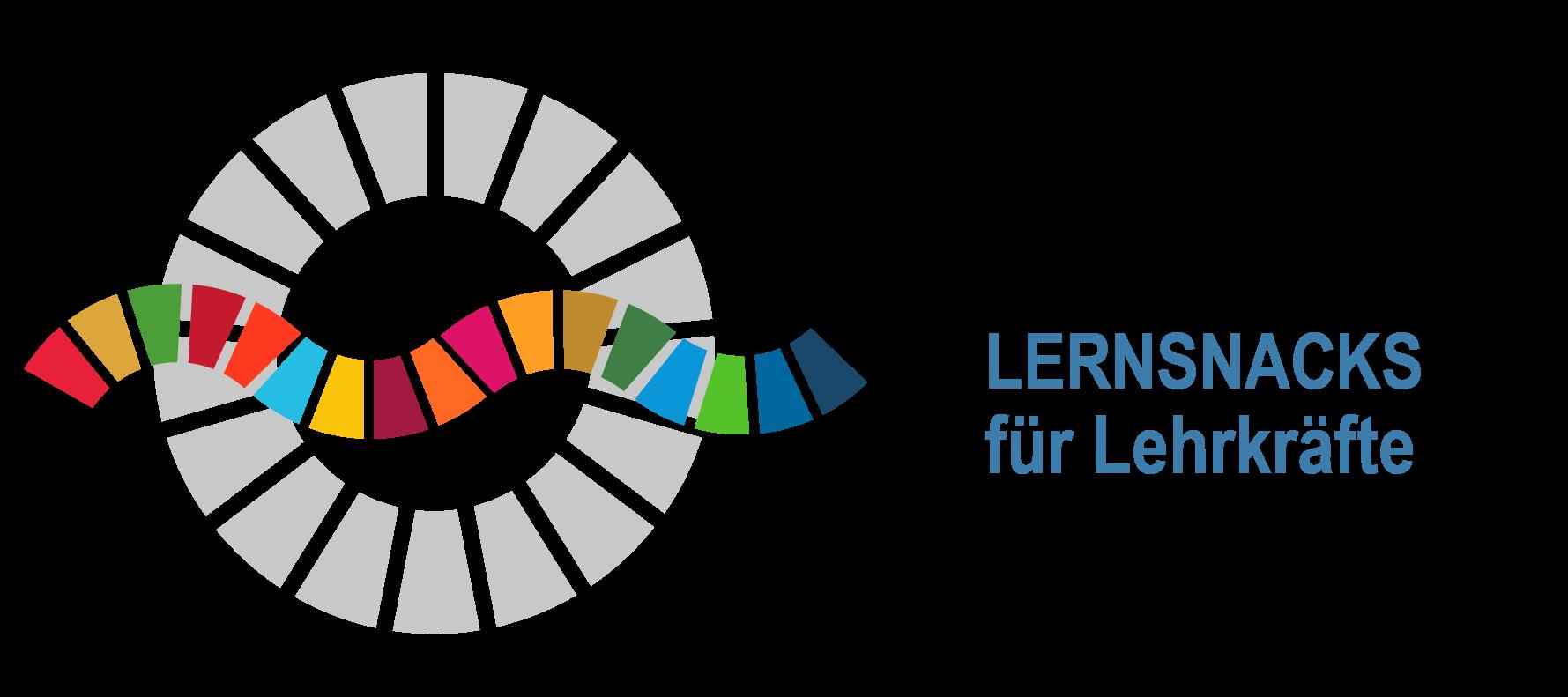 """Logo Fortbildungsreihe """"Die 17 Nachhaltigkeitsziele - Lernsnacks für Lehrkräfte"""""""