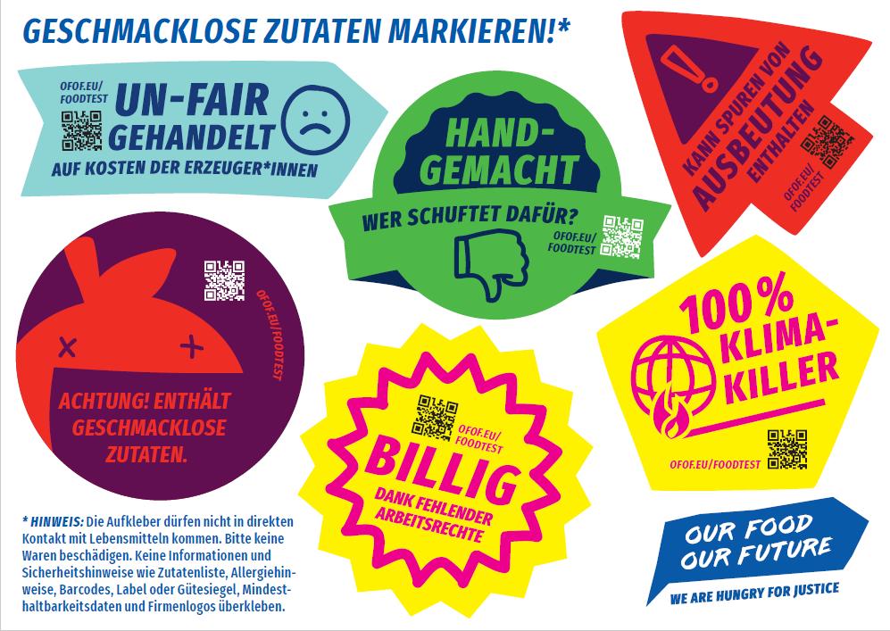 """Stickerpostkarte zur Aktion """"Geschmacklose Zutaten"""". Quelle: Christliche Initiative Romero (CIR)"""