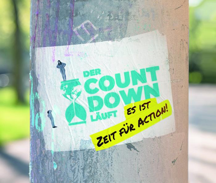 Der Countdown läuft. Es ist Zeit für Action! Key-Visual zur Aktion #ZeitFürAction im Rahmen des Schulwettbewerbs zur Entwicklungspolitik. Quelle: Engagement Global