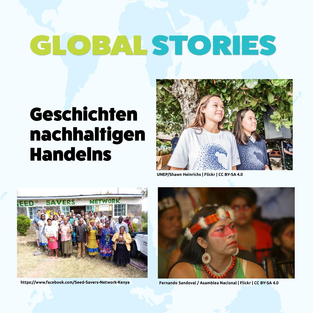 """Aufmacher Plattform """"Global Stories – Geschichten nachhaltigen Handelns"""". Quelle: Eine Welt Forum Aachen e.V."""