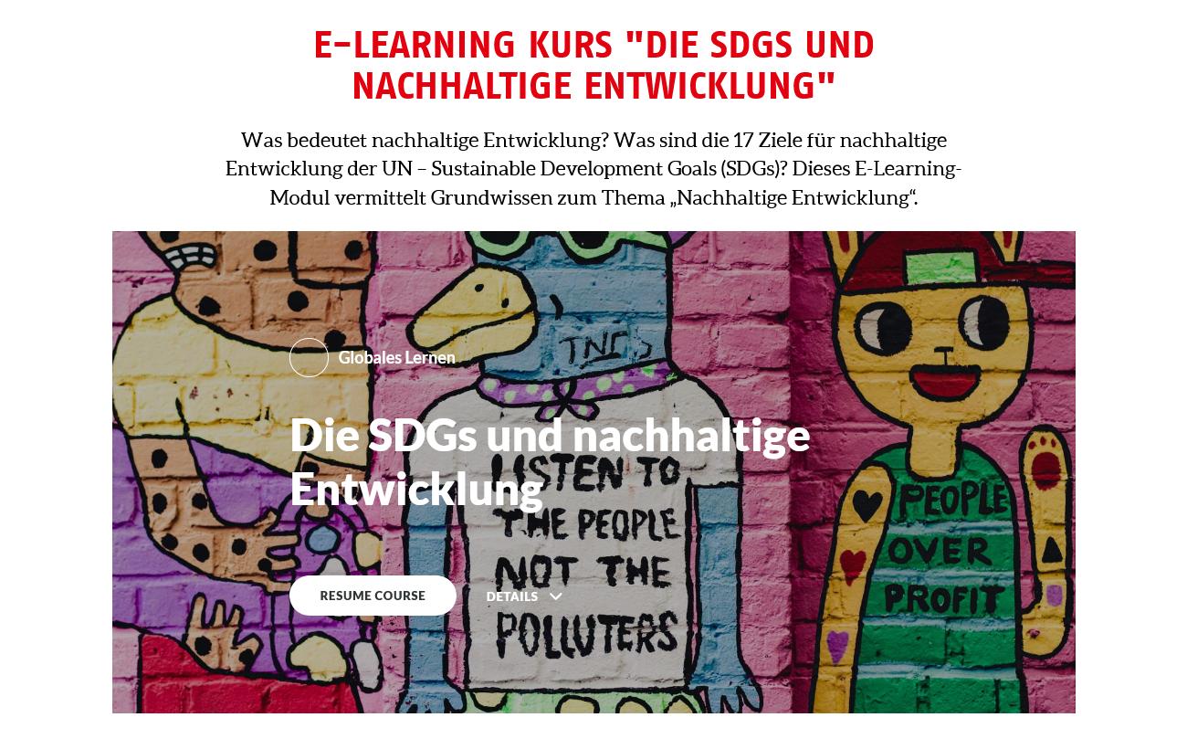 Screenshot E-Learning Kurs: Die SDGs und Nachhaltige Entwicklung. Quelle: AWO International e.V..