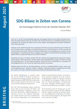 """Titelbild """"SDG-Bilanz in Zeiten von Corona"""" des HLPF. Quelle: www.globalpolicy.org"""