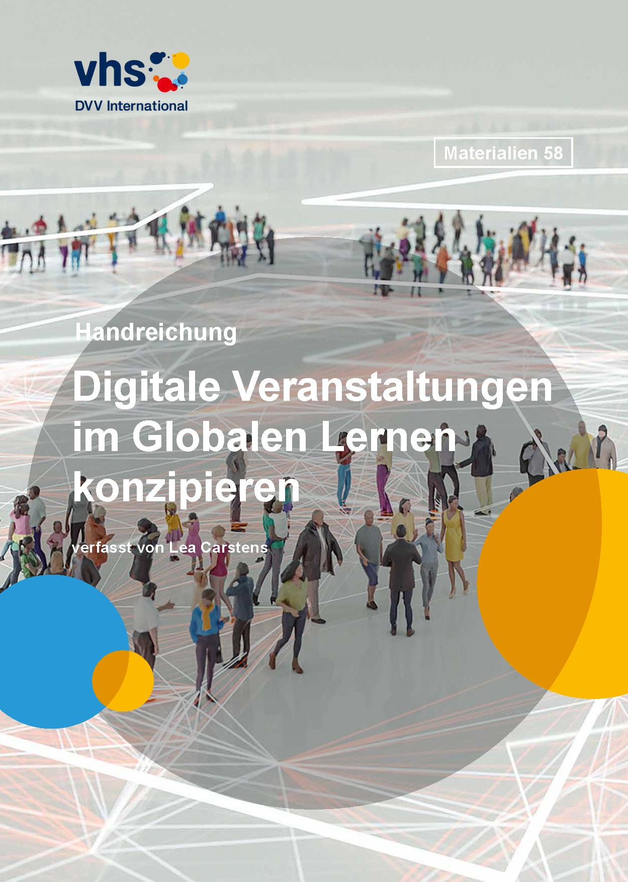 """Titelseite Handreichung """"Digitale Veranstaltungen im Globalen Lernen konzipieren"""". Quelle: DVV International"""
