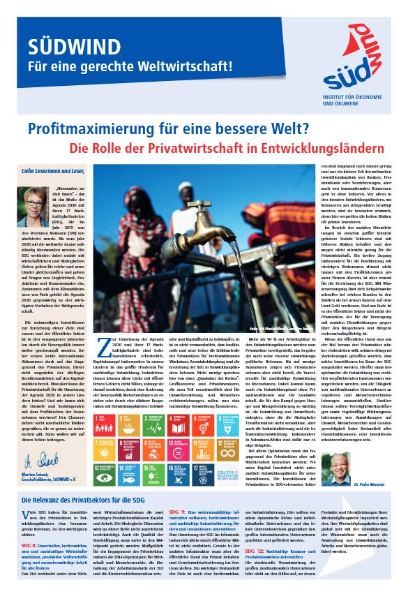 """Titelseite Broschüre """"Profitmaximierung fuer eine bessere Welt?"""" Quelle: suedwind-institut.de"""