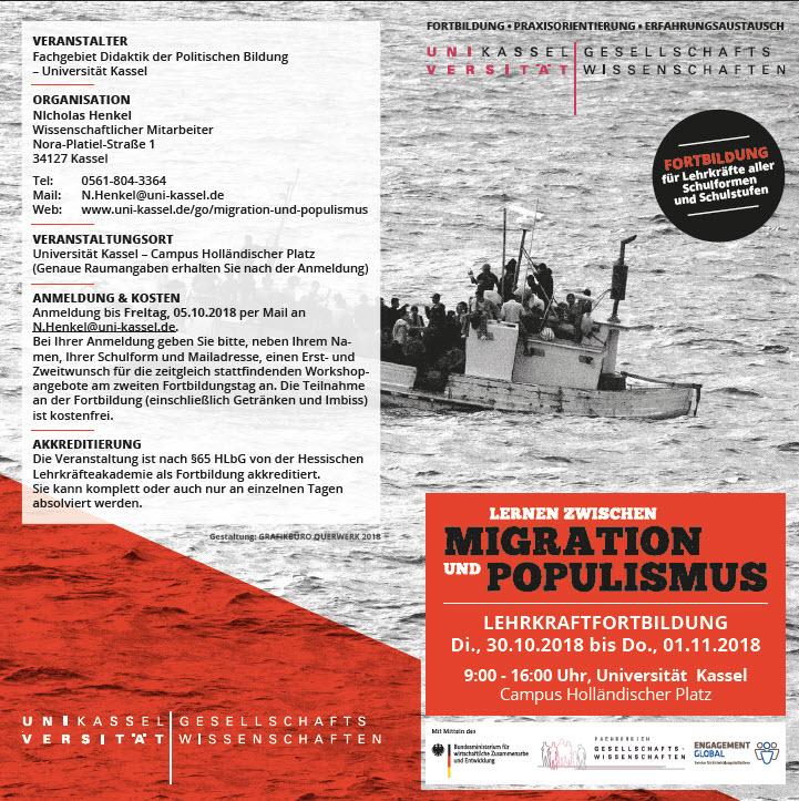 Flyer Fortbildung Migration und Populismus. Quelle: Uni-Kassel.de