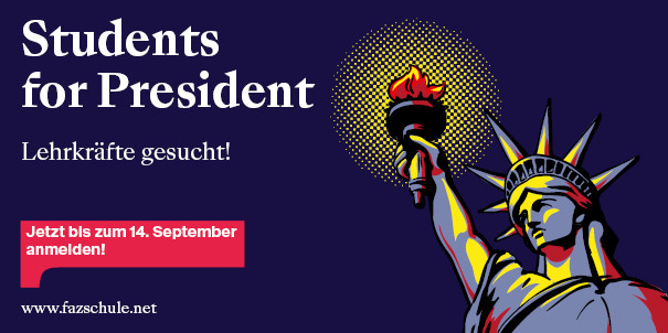 "Logo des FAZ-Schulwettbewerbs ""Students for President"""""
