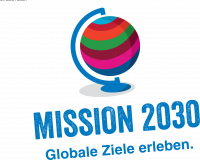 """Logo zur Ausstellung """"Mission 2030 – Globale Ziele erleben"""". Quelle: Plan International"""