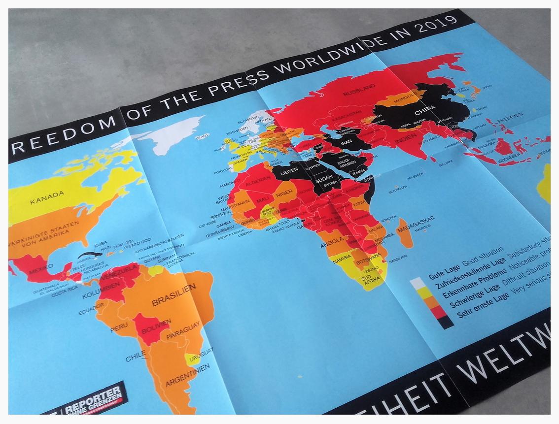 Weltkarte der Pressefreiheit. Quelle: reporter-ohne-grenzen.de