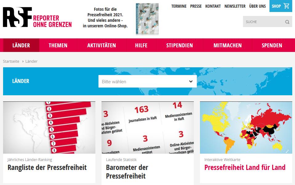 Screenshot Länderseite www.reporter-ohne-grenzen.de