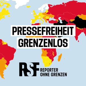 Logo zum Podcast Pressefreiheit grenzenlos, dem Podcast von Reporter ohne Grenzen. Quelle: reporter-ohne-grenzen.de/podcast