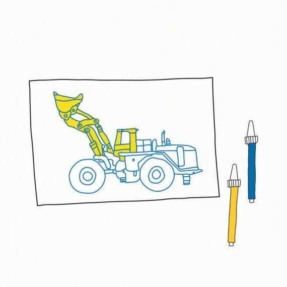 Baufahrzeuge - Durchpausen & Ausmalen PDF