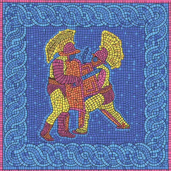 Römische Gladiatioren - Mosaikbilder, Wandgemälde 35x35 cm PDF