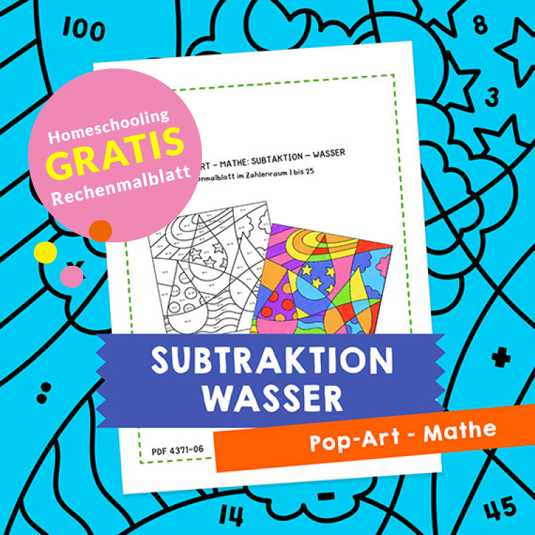 Homeschooling - Pop-Art – Mathe Subtraktion: Wasser PDF
