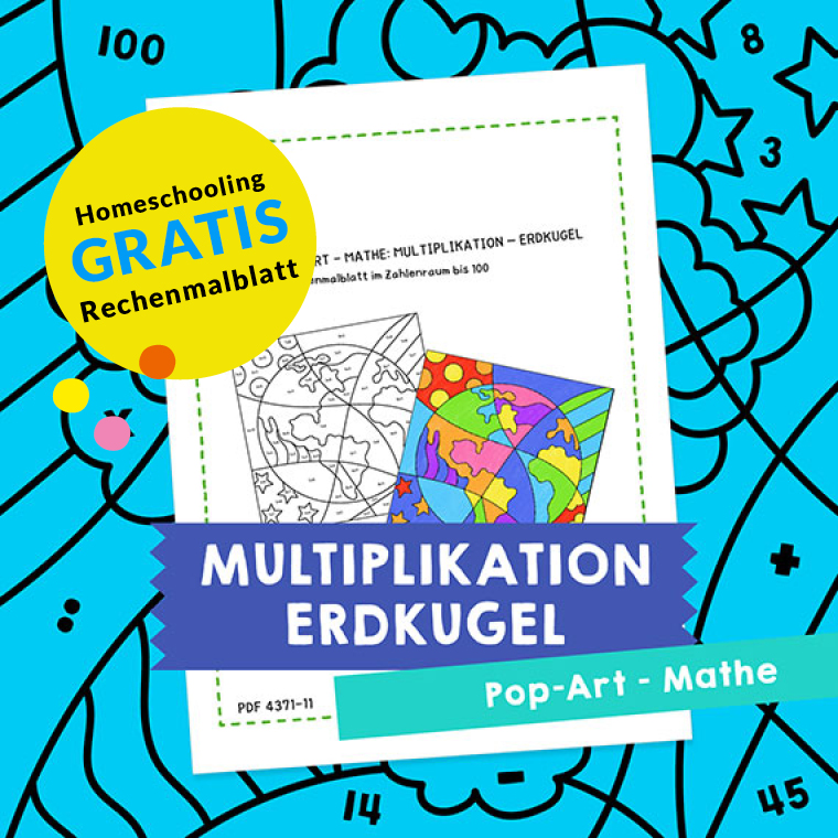 Homeschooling - Pop-Art – Mathe Multiplikation: Erdkugel PDF