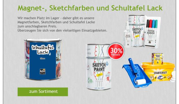 -30% Rabatt auf alle Magnet- und Sketchfarben + Schultafel Lack