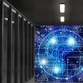 Datenschränke und ein Kopf der vernetzt ist