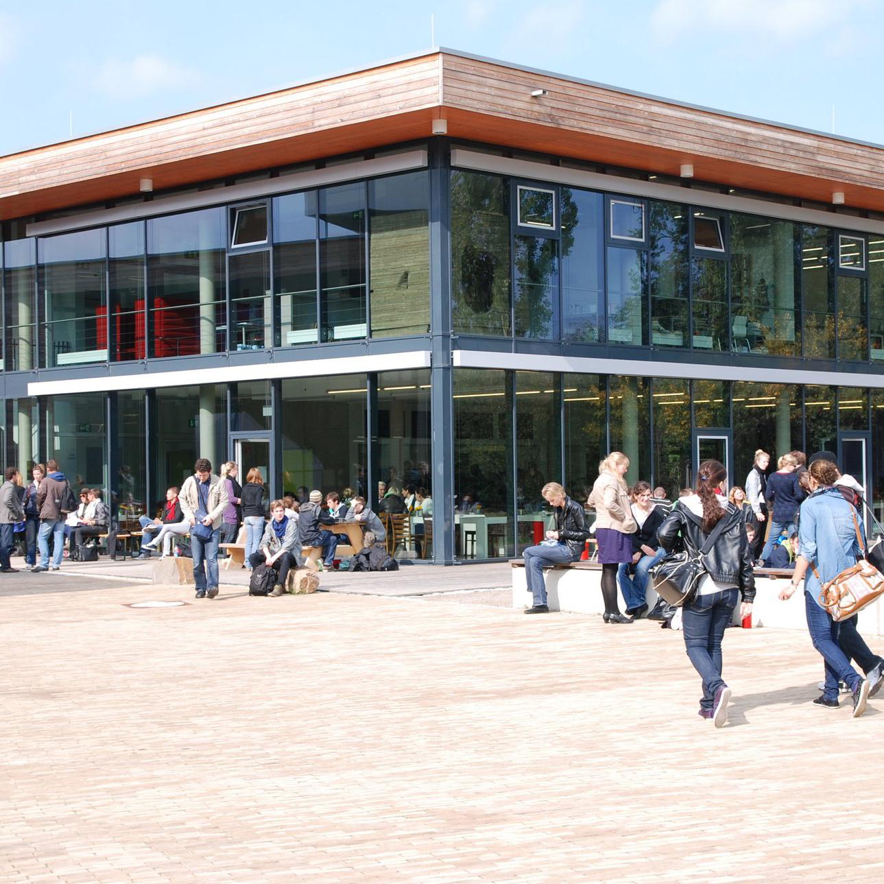 Die Studierenden der Alanus Hochschule für Kunst und Gesellschaft bewegen sich auf dem Campus