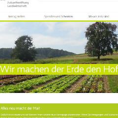 Die Homepage der Zukunftstiftung Landwirtschaft zeigt sich in einem modernen Format