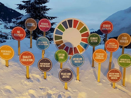 SDG-Schilder im Schnee