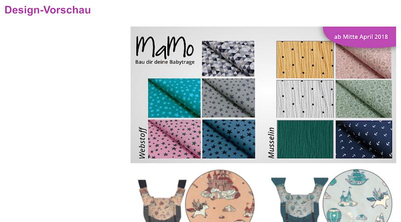 Designvorschau auf MaMo-Trage.de