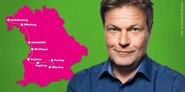 Robert Habeck auf Tour durch Bayern: Aschaffenburg - Würzburg - Dinkelsbühl - Nördlingen - Leipheim - Augsburg - Freising - München