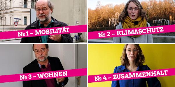 """Standbilder aus der vierteiligen Videoserie """"Wusstest du, was Kommunalpolitik alles kann?"""" mit den Landesvorsitzenden Eva Lettenbauer und Eike Hallitzky"""