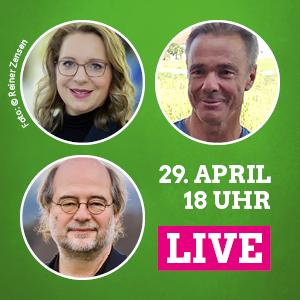 Live am 29.4. um 18 Uhr: Claudia Kemfert, Hannes Jaenicke und Eike Hallitzky