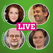 Live im Talk zur Kulturszene in Bayern: Luise Kinseher, Till Hofmann, MdL Sanne Kurz und Landesvorsitzender Eike Hallitzky
