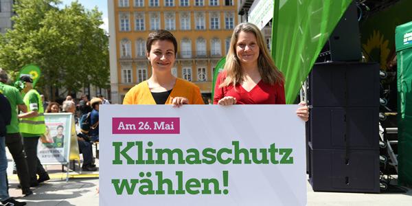 Ska Keller und Henrike Hahn beim Wahlkampf-Endspurt in München