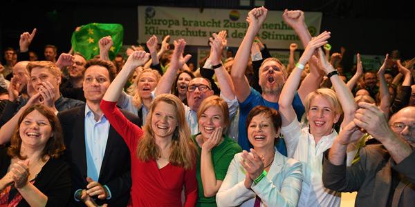 Jubel auf der grünen Wahlparty am Sonntag Abend in München