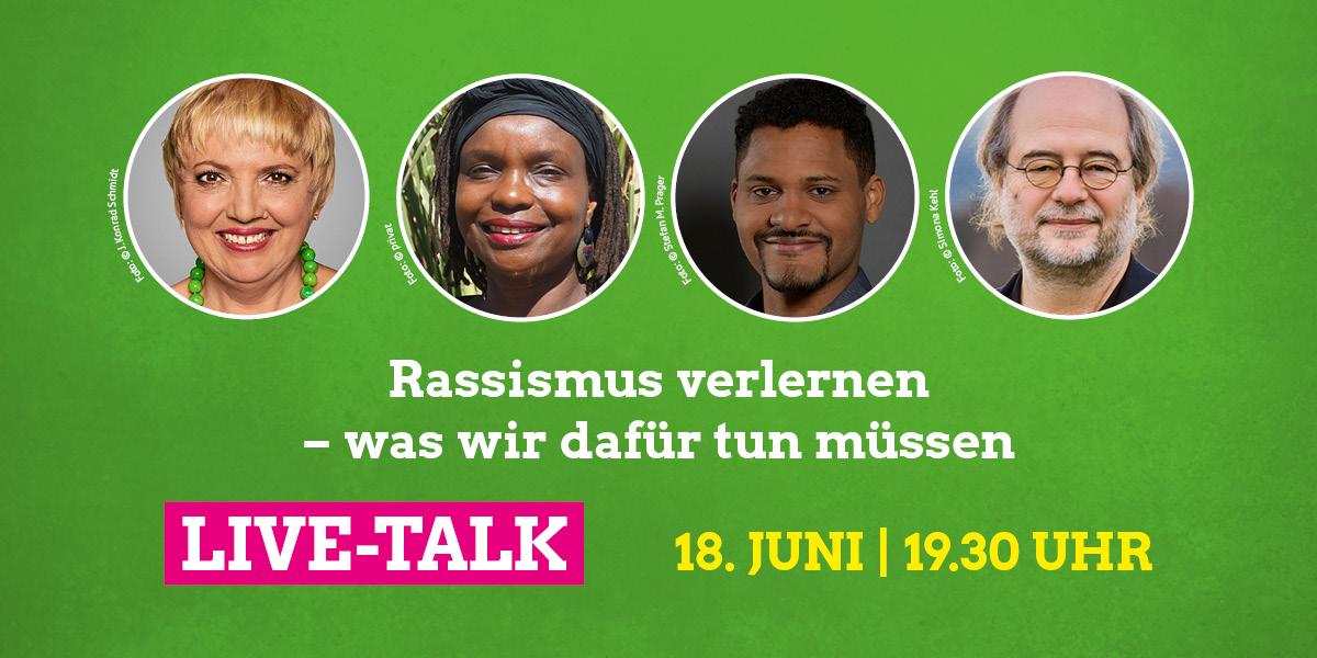 Claudia Roth, Njeri Kinyanjui, Benjamin Adjei und Eike Hallitzky diskutieren am 18. Juni ab 19.30 Uhr über Rassismus und wie wir ihn verlernen können