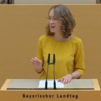 Eva Lettenbauer am Rednerpult im Bayerischen Landtag