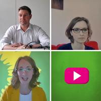 Screenshots aus dem Live-Talk mit Prof. Dr. Lisa Herzog, Ulrich Huggenberger und der grünen Landesvorsitzenden Eva Lettenbauer. Dazu ein pinkes Play-Symbol.